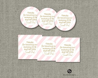 Baby Shower Gift Tags | Thanks for honoring our mommy-to-be and her little sweet pea! | Round or Square Favor Tags | No. IAG133K