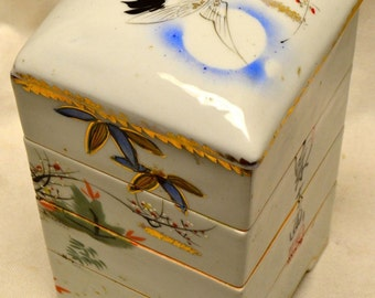 Stackable 4 Piece Porcelain Box w. Painted Turtles & Chinese Calligraphy- ANTIQUE