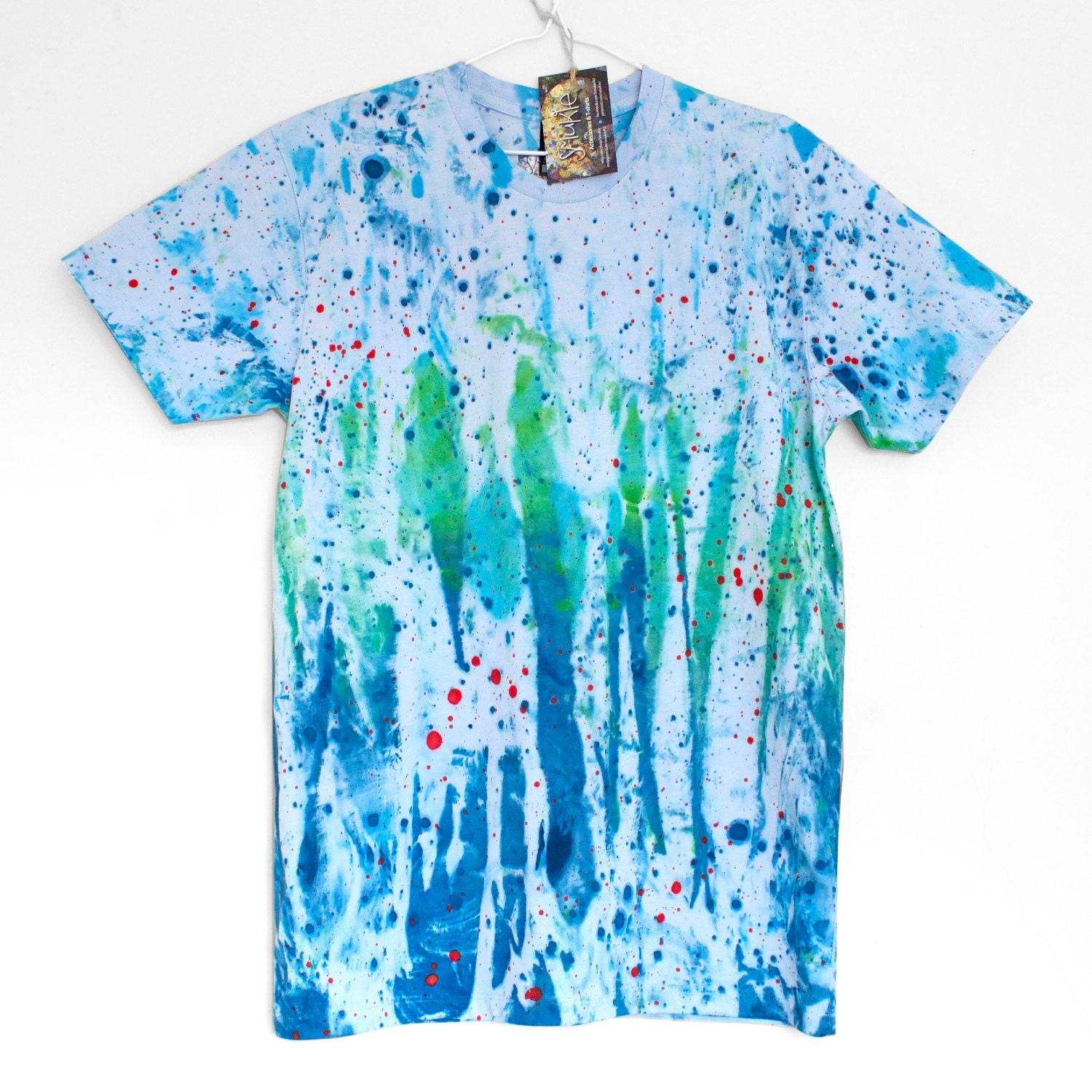 Dream blue 100 cotton t shirt hand painted blue tshirt for Unusual shirts for men