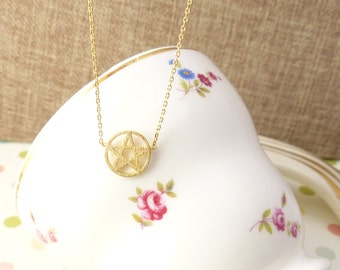 Circle necklace, Star necklace, Pentacle Pentagram Five Point Star Circle necklace,Gift idea, back to school necklace,Christmas present.