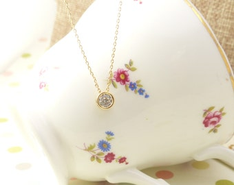 Gold Floating Diamond Necklace, Dainty Necklace, simple Necklace,pendant Necklace,birthstone necklace,Gift for her, bridesmaid gift,wedding