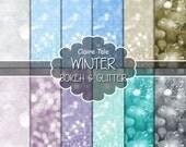 "Christmas bokeh paper: ""WINTER BOKEH""  photo backdrop / winter glitter / white christmas bokeh / winter sparkles backgrounds in blue, silver"