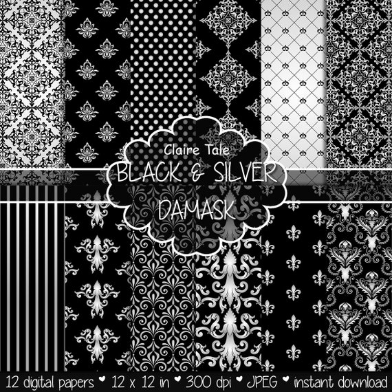 """Damask digital paper: """"BLACK & SILVER DAMASK"""" with silver and black damask backgrounds and classical damask patterns"""