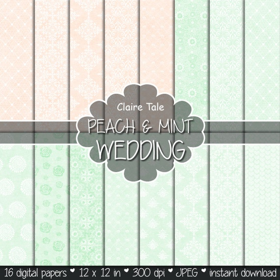 "Wedding digital paper: ""PEACH & MINT WEDDING"" with damask, roses, flowers, lace, hearts patterns / peach mint wedding background"