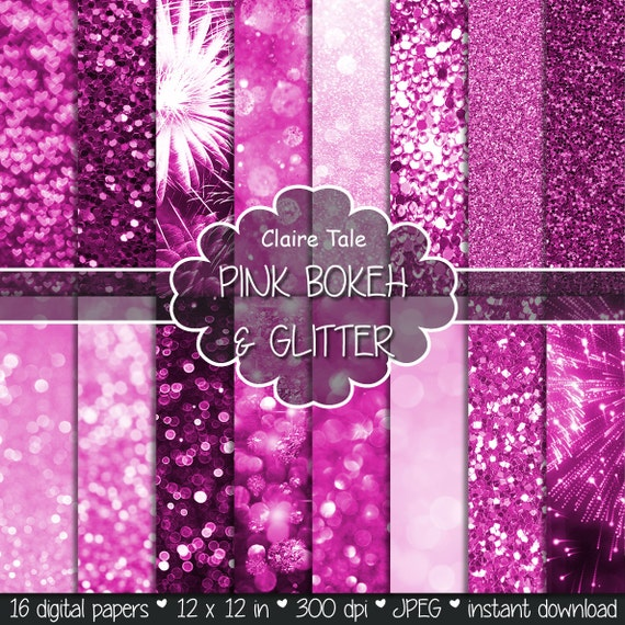 "Pink digital paper: ""PINK BOKEH & GLITTER"" with pink glitter background and pink bokeh background for photographers and scrapbooking"