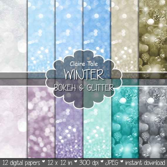 "Christmas bokeh paper: ""WINTER BOKEH""  photo backdrop / winter glitter / white christmas bokeh / winter sparkles backgrounds in blue, silver"