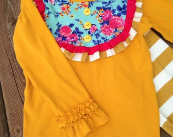 Mustard yellow long sleeve bib shirt - ruffle shirt for toddlers and girls - mustard shirt - bib shirt