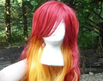 Red Orange Wig, Ombre Wig, Fade Wig, Lord Solaris, Fire Wig, Mixed Color Wig, Long, Wavy,  Heat safe, flowing, bangs, curl,