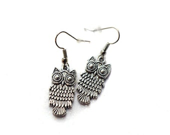 Earrings small owls, charms in metal, fancy earrings, cute owls
