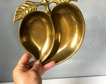 Vintage Brass Tray in the Shape of a Peach
