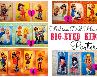 Miniature Big-Eye Vintage-style Art Doll Poster Set (playscale 1:6 scale diorama play mini for fashion/teen dolls) eyed eyes