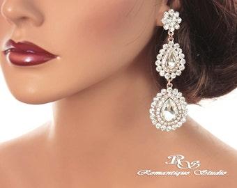 ROSE Gold Statement earrings art deco crystal earrings vintage style bridal earrings chandelier earrings wedding rhinestone earrings 1288RG