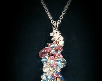 Swiss Blue Topaz Imperial Topaz Pink Tourmaline Prasiolite Cultured Pearls Solid 18k Yellow Gold Pendant on Sweet Sterling Silver Chain