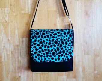 Messenger Bag with Adjustable Strap Black and Teal Animal Print
