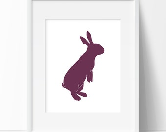 Eggplant Rabbit Art Print, Rabbit Graphic Art, Printable Art, Nursery Print, Rabbit Art, Eggplant Graphic Art, Wall Prints, Home Decor
