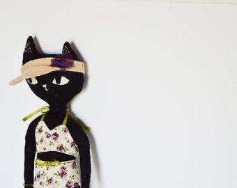 Little black Cat doll. Elina fabric cat doll 100 % handmade.
