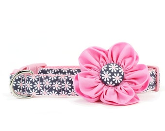 Pink Daisy Dog Flower Collar Grey Girl Dog Collar Flower