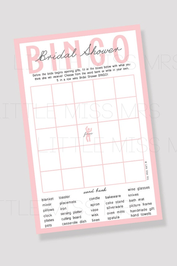 Printable Bridal Shower BINGO / Bridal Shower Game