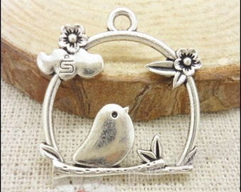 25pcs 26x25mm Antique silver Bird Charms pendant - Birdcage charms