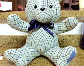 Handmade Memory Teddy Bear - Made to Order (Single Fabric with Personalization)