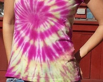 Women's Upcycled Fuchsia, Yellow, and Lime Swirl Tie Dye T-shirt