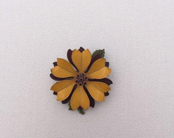 Vintage Yellow and Brown Enamel Flower Pin/Brooch