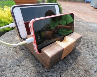 Mobile Device Stand Dual - Varnished Walnut & Oak