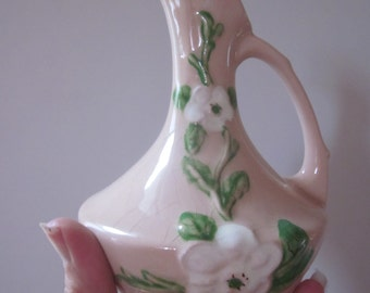 Hull Art Pottery Ewer, Rosella, with White Blossoms and Green Foliage.