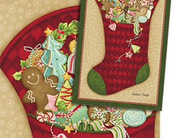 Santa's Here Christmas Stocking Panel in Claret Red - Cotton Quilt Fabric - Inspired by Nancy Halvorsen for Benartex - 6071-15 (W2966)