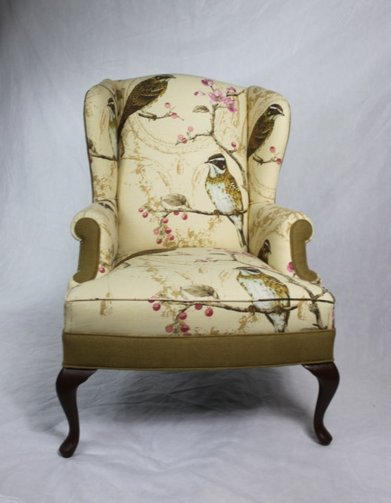 sold can replicate linen branch bird floral fabric and burlap wing back chair accent chair pink merlot tan cream brown turquoise
