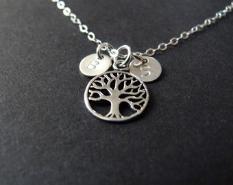 Mother of twins jewelry, sterling silver mom necklace, tree charm pendant, 2 kids initials, son daughter, family keepsake