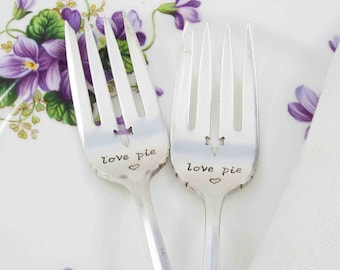 Dessert Forks, Pie Forks, Love Pie Forks, Pie Forks Set, Love Pie, Couples Gift, Personalized Gift, Fork Set, Gift Ideas, Hand Stamped Forks