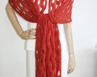 Women's  Accessory  -  Hand-Knit Bulky Lace Shawl Made of Italian Yarn