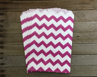 48 Fuchsia Favor Bags--Chevron Favor Bag--Candy Favor Bag--Chevron Goodie Bag--Magenta Chevron Party Sack--Birthday Treat Sacks