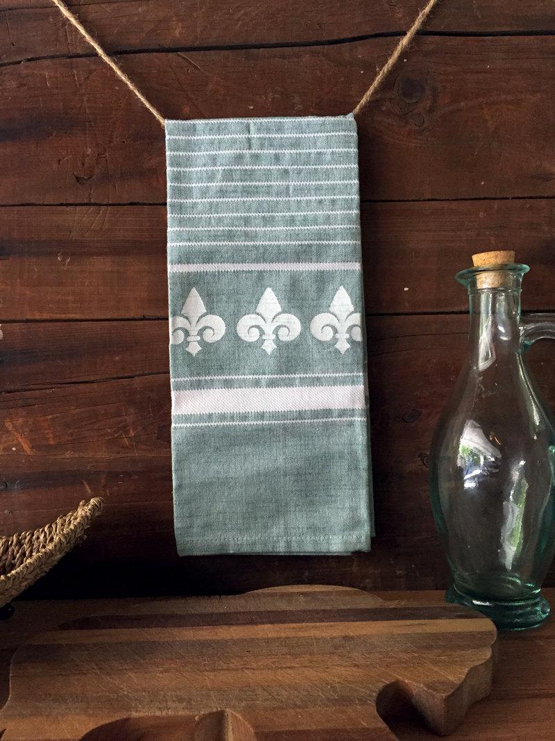 Fleur Kitchen Dish Towel Fluer De Lis Tea Towel Green