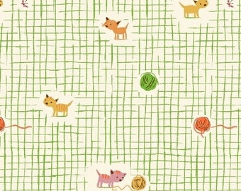 Heather Ross Fabric - Yarn Kitty from Tiger Lily for Windham Fabrics - 40929 2 Green - Priced by the Half Yard