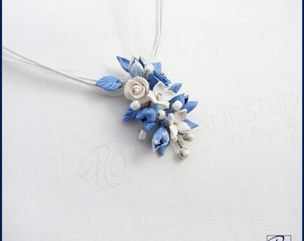 Pendant Necklace Flowers Blue White Polymer Clay Jewelry Handmade Jewelry Romantic Prom Wedding Pendant Something Blue. READY TO SHIP