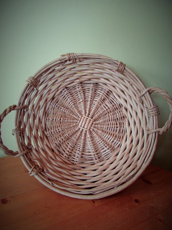 Large Round Wicker Baskets With Handle : Large woven wicker cane round basket with handles