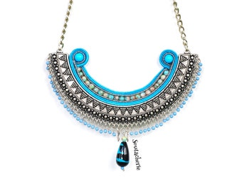 Blue ethnic necklace - Soutache necklace - Bohemian gypsy style - Tribal statement - Bohemian jewelry - Metallic collar - Embroidered collar