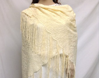 Tan lace Shawl, Fringed wrap, Roses, piano scarf