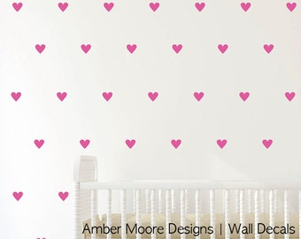 Heart Wall Decal Set of 45, Heart Wall Decals, Heart Decal, Nursery Wall, Wall Decal, Heart Wall Sticker, Love Wall Decal, Heart Wall Decor