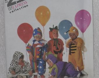 Simplicity 7475 Pattern Toddler Costumes Clown, Pumpkin, Bee, Dinosaur, Dalmation Uncut Size 1/2, 1, 2, 3, 4