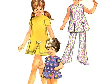 Simplicity 8717 Childrens Bell Bottoms Pants and Dress Sewing Pattern