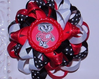 Wisconsin Badgers Hair Bow, Badgers Hair Bow, Red, White, Black Bows