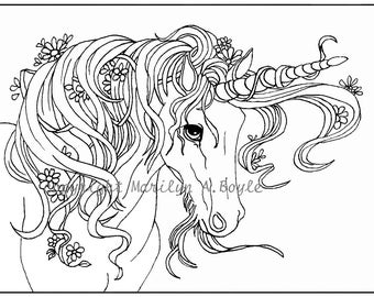 ADULT COLORING Page, digital download, Unicorn, flowers, garden, fantasy, easy for a child too,