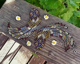 Ophelia..Long Beaded Fringe Earrings Native American Inspired