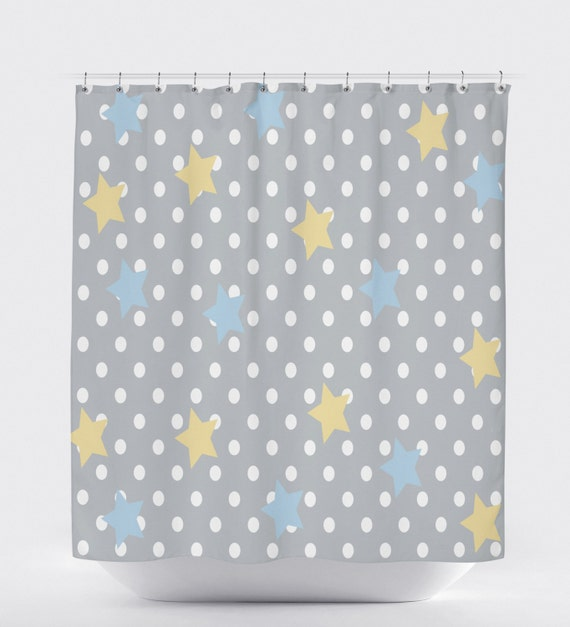 Polka Dot Shower Curtain Shower Curtain Gray Yellow Bathroom