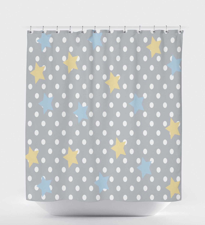 polka dot shower curtain shower curtain gray yellow bathroom. Black Bedroom Furniture Sets. Home Design Ideas