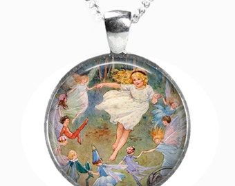 DANCING FAIRIES - Glass Picture Pendant on Chain - Silver Plated (Art Print Photo D6)