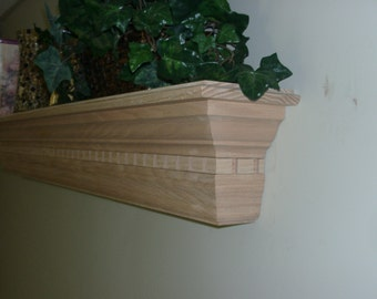 Solid OAK Dentil Wooden Fireplace MANTEL SHELF Customize to Meet Your Needs